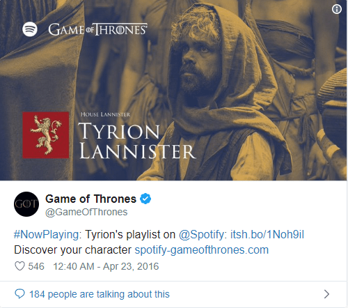 spotify game of throne campaign